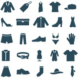 Set vector icons clothes and accessories.