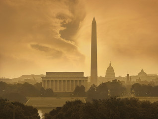 Washington DC skyline under stormy clouds