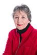 Gesicht einer alten Frau isoliert - Rot, Schwarz, Weiß