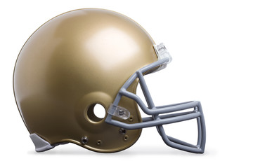 Gold football helmet in profile view isolated on a white backgro