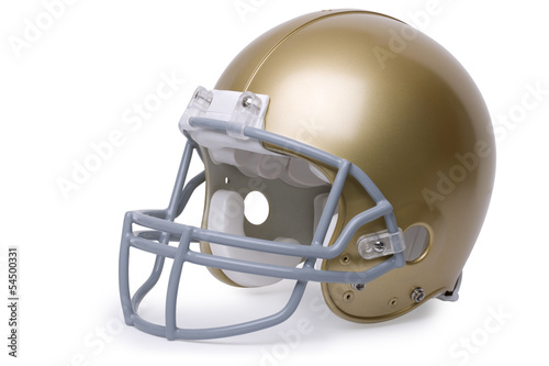 Gold football helmet isolated on a white background