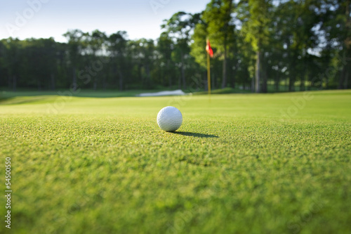 Close up of golf ball on green