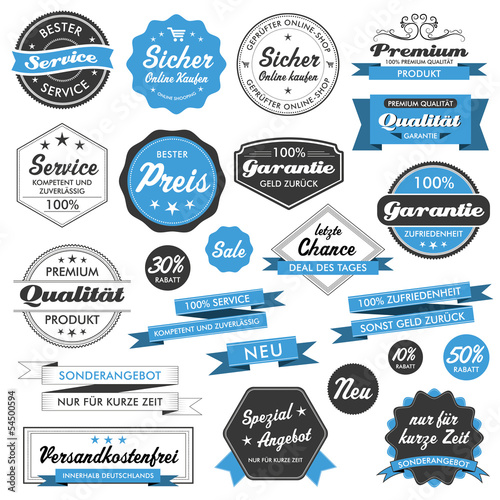 Button Siegel Premium Set Angebot Sale Service Shop Logo blau