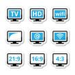 TV monitor, screen icons set