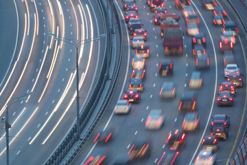 Traffic on highway with motion cars