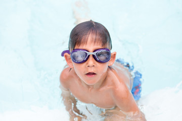 Child getting ready to train in swimming