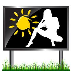 girl and sun on a billboard vector illustration