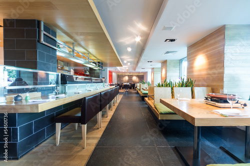The modern cafe with cozy interior. - 54501736