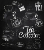 Set tea collection chalk