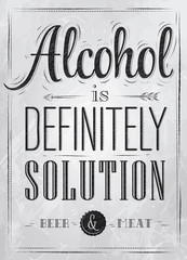 Poster joke Alcohol is definitely solution coal