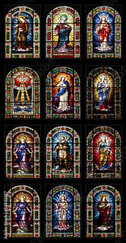 canvas print picture 12 Kirchenfenster in der Kirche Nuestra Senora de la Concepcion