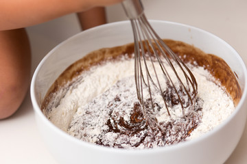 Mixing chocolate pie dough