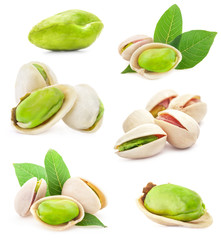 Collections of Pistachio nuts isolated on white background