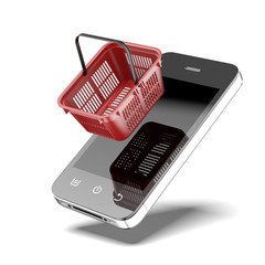 Smartphone with shopping basket