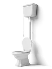 Toilet bowl with flush tank