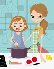 Imparare a cucinare con la mamma