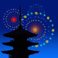 三重塔と花火
