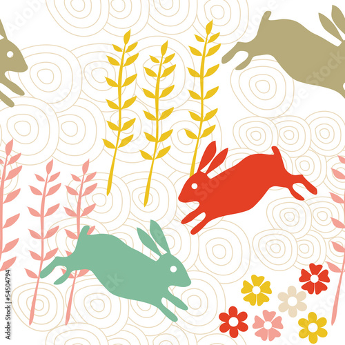Rabbit seamless texture, endless vector illustration