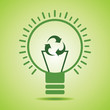 Green  recycle icon make filament of an eco bulb