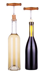 red and white wine bottle with corkscrew