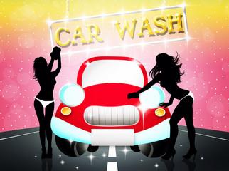 Illustration of sexy car wash