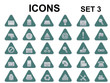 set of triangle metallic icons