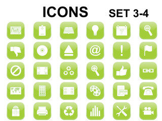 set of green square icons with rounded corners