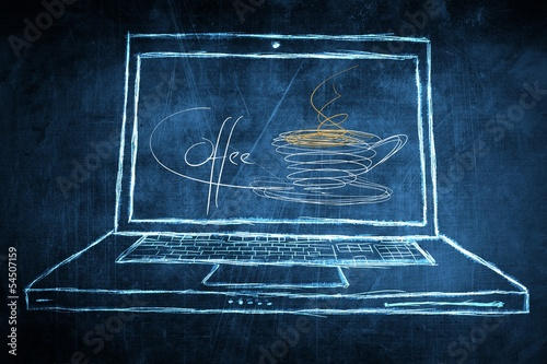 Sketch netbook computer screen concept with coffee break symbol