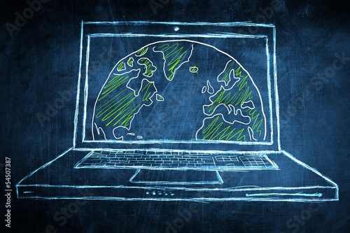 Sketch netbook computer screen concept with earth globe