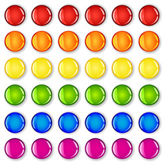 Glossy buttons with shadows in rainbow colors