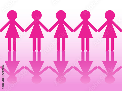 Row of women silhouettes holding hands