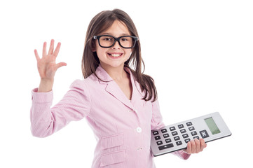 Cute Young Girl with Galsses and Calculator.