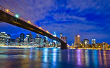 Brooklyn Bridge at night in New York City Manhattan, USA