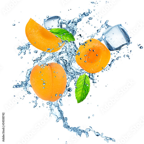 Apricot in water splash