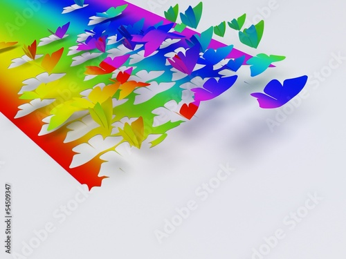 Butterfly flying out of a  rainbow paper