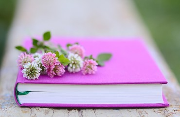 Pink and white clover on the fuchsia book