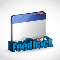 internet browser feedback 3d blue sign