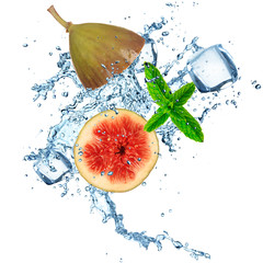 Fig in water splash