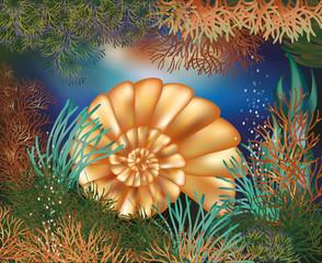 Underwater world wallpaper with golden seashell, vector