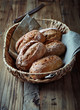 Wholemeal bread rolls in a basket