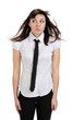 beautiful thoughtful girl with shirt and tie