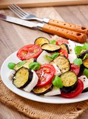 eggplant salad with tomato and feta cheese