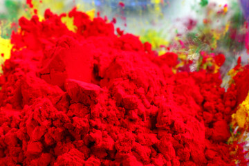 Closeup of red gulal, shallow depth of focus