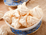 White-cream meringue on plate