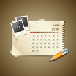 Calendar June 2014, vintage paper note, vector