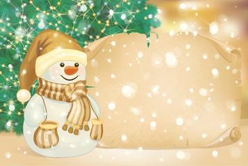 Vector of happy snowman on golden  background.