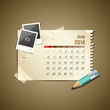 Calendar July 2014, vintage paper note, vector