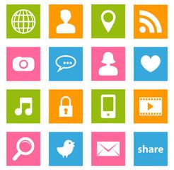 set icônes carré réseaux sociaux