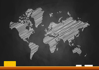 World map on blackboard