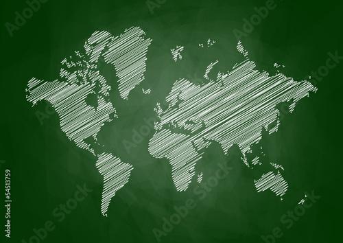 World map on blackboard - 54513759